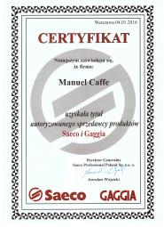 Certyfikat - Autoryzowany dystrybuor Saeco i Gaggia.