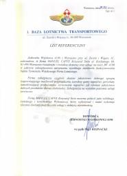 List Referencyjny - Baza Lotnictwa Transportowego.